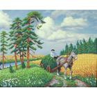 Ткань для вышивания бисером М.П.Студия Г-165 «Летнее раздолье» 40*50/28*35 см