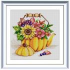 Ткань с рисунком для вышивания бисером «Конек 1321 Тыквенный чайник» 25*25 см