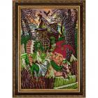 Ткань с рисунком для вышивания бисером «Конек 1363 Селфи с Бабой Ягой » 25*65 см