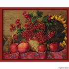 Ткань с рисунком для вышивания бисером «Конек 9831 Калина красная» 29*39 см