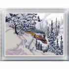 Ткань с рисунком для вышивания бисером «Конек 9937 Поезд» 29*39 см
