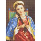 Ткань для вышивания бисером Каролинка КБЛ-3050 «Барышня» 22*37 см