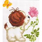 Алмазная мозаика D 2659 «Собака с цветком»