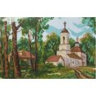 Рисунок на канве МП (24*35 см) 0023 «Церковь в лесу»
