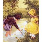 Рисунок на канве МП (24*35 см) 0195 «Дети у речки»