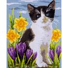 Алмазная мозаика D 3216 «Черно-белый котенок в цветах»