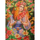 Рисунок на канве МП (33*45 см) 0389 «Дама в цветах»