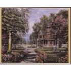 Алмазная мозаика DIY К-1663 «Дом с фонтаном» 28*38 см