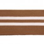 Подвяз трикотажный п/эTBY73005 св.коричневый с белыми полосами 6*80см