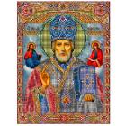 Ткань для вышивания бисером МП 3008 «Николай Чудотворец» 28*34 см