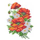 Ткань для вышивания бисером МП 4507 «Букет маков и ромашек» 28*34 см