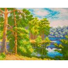 Рисунок на канве МП (24*30 см) 0604 «Озеро в лесу»