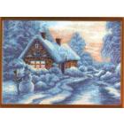 Рисунок на канве МП (37*49 см) 0642 «Снеговик у дома»