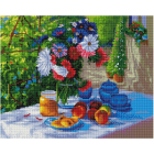 Алмазная мозаика Подсолнух UA430 «Цветы на террасе» 40*50 см на подрамнике