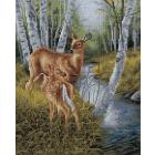 Алмазная мозаика Подсолнух UB231 «Олени у ручья» 30*40 см на подрамнике