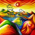 Алмазная мозаика Подсолнух UC147 «Цветные горы» 20*20 см на подрамнике