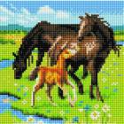 Алмазная мозаика Подсолнух UC208 «Лошадиное семейство» 20*20 см на подрамнике