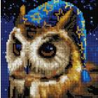 Алмазная мозаика Подсолнух UC239 «Совенок звездочет» 20*20 см на подрамнике