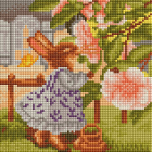 Алмазная мозаика Подсолнух UC157 «Зайка в саду» 20*20 см на подрамнике