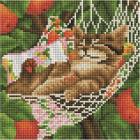 Алмазная мозаика Подсолнух UC138 «Котенок в гамаке» 20*20 см на подрамнике