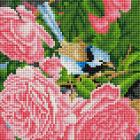 Алмазная мозаика Подсолнух UC136 «Птичка на розах» 20*20 см на подрамнике