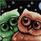 Алмазная мозаика Подсолнух UC245 «Милые совята» 20*20 см на подрамнике