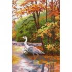 Рисунок на канве МП (24*35 см) 0445 «Цапля в осеннем пруду» (снят)