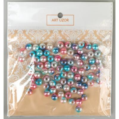 Бусины пластик Градиент 4134966, 8 мм (уп 20 гр) голубой/розовый в интернет-магазине Швейпрофи.рф
