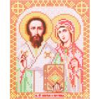 Ткань для вышивания бисером Благовест И-5068 Св. Мученики Куприян и Устинья 13,5*17см
