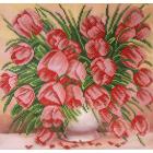 Ткань для вышивания бисером Благовест К-3108 Нежные тюльпаны 28*28 см