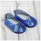 Обувь для игрушек (Туфли) 4258944 «Блестки-кругляши» 7,0 см синий (пара)