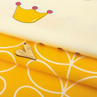 Ткань 45*145 см 4404285  «Прекрасная принцесса» белый/желтый