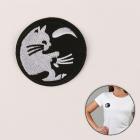 Термоаппликация 4699328 «Кошка в круге» черный/белый 6 см