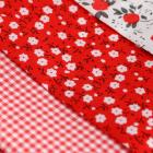 Ткань 50*50 см н-р 5372541 «Лужайка» белый/красный