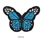 Термоаппликация TBY-2176 «Бабочка» 5*7 см голубой