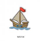 Термоаппликация TBY-2118 «Кораблик» 119062 6*5,5 см бежевый
