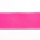 Лента репсовая 25 мм с люрексом (уп. 22,5 м) 40 яр.роз/серебро