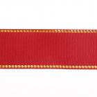 Лента репсовая 25 мм с люрексом (уп. 22,5 м) 48 бордо/золото