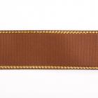 Лента репсовая 25 мм с люрексом (уп. 22,5 м)140 корич./золото