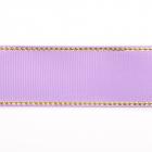 Лента репсовая 25 мм с люрексом (уп. 22,5 м) 80 св.сиреневый/золото