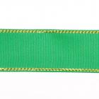 Лента репсовая 25 мм с люрексом (уп. 22,5 м)120 зеленый/золото