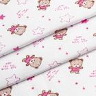 Ткань 45*50 см «Интерлок» Мишка 100 % хлопок 175г/м2 розовый