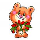 Набор для вышивания Нитекс 2136 «Медвеженок с тюльпанами» 22*25 см