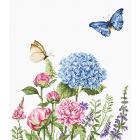 Набор для вышивания Luca-S В2360 «Летние цветы и бабочки» 26,5*31,5 см