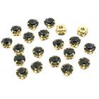 Стразы пришивн. «Астра»  8 мм в цапах/золото 4AR167/168 хруст. (уп 20 шт) 7727640 №38 черный