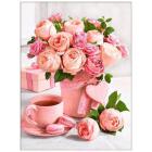 Алмазная мозаика АЖ-1883 «Букет розовое чаепитие» 30*40 см
