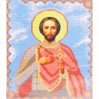 Ткань для вышивания бисером Каролинка КБИ-4037 «Св.Александр Невский» 18,5*23 см