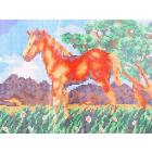Ткань для вышивания бисером Каролинка КБЖ-4009 «Жеребенок» 18,5*25 см