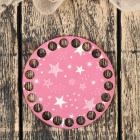 Заготовка для декора 4624111 «Круг. Розовый. Звезды» донышко дерев. 10*10 см
