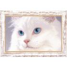 Ткань для вышивания бисером ЧМ СБ-155 Белый котик 16,5*26 см